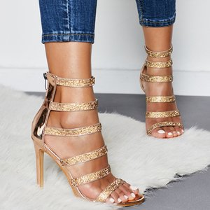 Pretty2019 Fine Rome With Toe Sandals Rhinestone Trend Go Excellent Banquet High-heeled Shoes 42