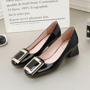Sığ Ağız Deri Bayan ayakkabı Kalın Topuk Tek ayakkabı Orta Topuk Küçük Deri ayakkabı Bayan Blok Topuk Çalışma Lüks Klasik
