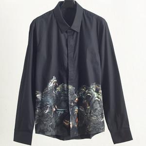 Mode Hommes Styliste Tee shirts manches longues Black Dog Head Imprimer Printemps Automne Shirts Solide Couleur Homme de haute qualité Chemises T-shirt