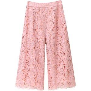 High Waist Loose Sexy Lace Wide Leg Pants Women Capris Fashion Hollow Out Lace Crochet Pink Beach Casual Women Pants