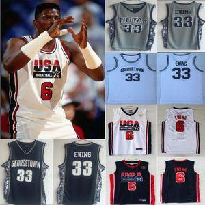 1992 Dream Team USA US Patrick Ewing # 6 HOYAS GEORGETOWN # 33 Taille maillots Retro Cousu Shirts S-XXL expédition de baisse