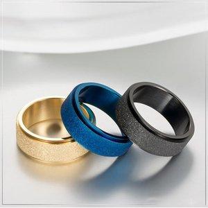 8MM Rotating mariage en acier inoxydable Bagues de femmes Hommes de haute qualité 3 couleurs Mode givré chanceux Runner engagement bijoux cadeau
