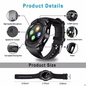 V8 Smart Watches Silicone Strap Round Screen Bluetooth Synchronized Motion Pedometer Bracelet Call Phone for android ios DHL