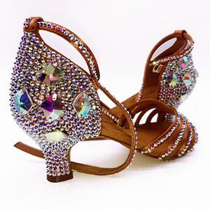 Кроссовки BD 311 Girls Обувь для латинских танцев Мягкая обувь для взрослых Латинская обувь Diamond Shoe Добавить Drill Ballroom SALSA BLACK HEEL 4.5 CM