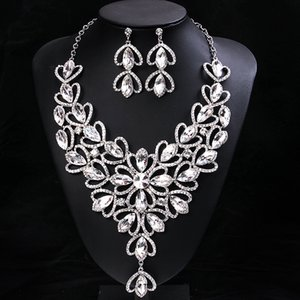 Charming Champagne Silver Red Crystals Jewelry 2 Pieces Sets Necklace Earrings Bridal Jewelry Bridal Accessories Wedding Jewelry T226349