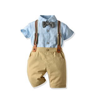 Summer plaid gentleman children's short-sleeved shirt cropped pants children's strap three-piece boy shirt suit