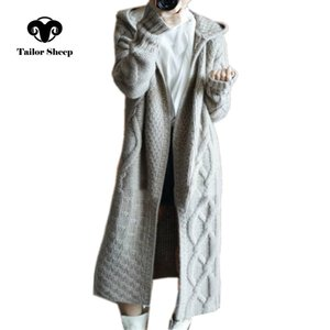 TAILOR SCHAF Herbst Winter neue mit Kapuze Mantel Frauen verlieren weiblichen V191105 langen Kaschmir-Pullover dick gestrickte Wolle Strickjacke
