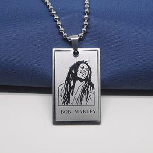 Aço inoxidável Bob Marley Retrato colares Colar Reggae Music Superstar Figura Character pingente de cadeia para mulheres Homens