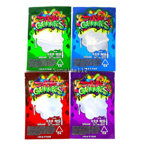 500MG Dank gélifiés Mylar Sac Comestibles Retail Zip verrouillage Emballage Worms Bears Cubes Gummy pour Dry Herb Tobacco Flower