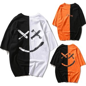 하라주쿠 유니섹스 티셔츠 남성 캐주얼 하이틴 프린트 큰 미소 얼굴 패션 프린트 Top super camisetas hombre