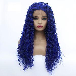 Großhandel tief lockig Spitze-Front-Perücke blau Haar hitzebeständige Fasern synthetischen Spitze-Front-Perücke Glueless Halb Hand für alle Frauen Gebunden