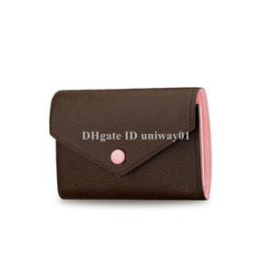 Qualidade Mulheres curto carteira de desconto designer de marca titular do cartão caixa original damier verificado flor