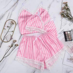 Плюс размер S-XXL пижама женщин пижамы лето 2020 Sexy Мода Полосатый рукавов Nightgown Женская пижама Pijamas De Mujer