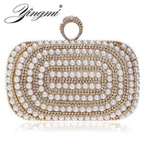 YINGMI ring diamonds women clutch bags beaded party handbags shoulder chain evening bags rhinestones 2019