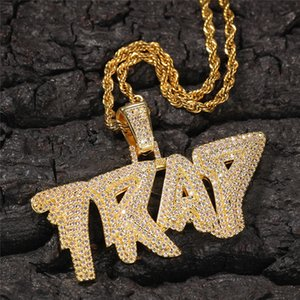 Men 316L Stainless Steel Jewelry TRAP Letters Pendant Necklace Gold Plated Hip Hop Pendants With CZ Stone