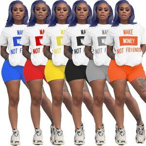 Летние женские шорты Нижнее Letter 2 Piece Set Tracksuit рукавов Спортивная тонкая рубашка Pant Спортивные костюмы Женская одежда 839
