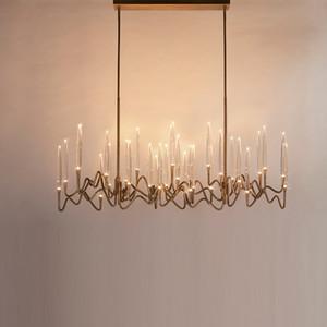 Moderna metallo dell'oro lungo di cristallo lampada a sospensione di lusso creativo Soggiorno lampadario in stile Illuminazione Arte Fixture PA0616