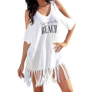 السيدات عارضة حزب أسود أبيض اللباس الصيفي للمرأة شرابة رسائل طباعة فضفاض شاطئ اللباس فساتين عادية