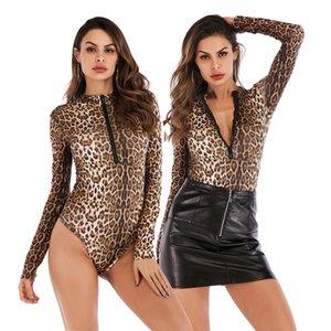 CİNESSD 2020 kadın Bodysuits moda leopar baskı fermuar O-boyun uzun kollu Bodycon tulumlar seksi T-shirt Y2