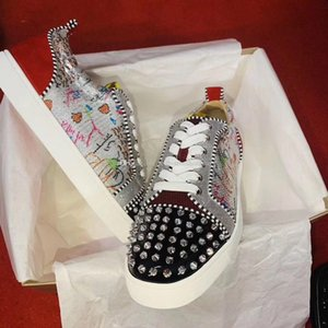 New Shoes Junior Spikes Red Bottom Sneakers Men Shoes Luxury Print Silver Pik Pik No Limit studs and rhinestones graffiti Wedding Party