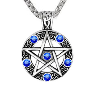 CUTEECO Dropshipping Vintage Style Witch Necklace Gothic Pewter Pentagram Pentacle Pagan Wiccan Pandent Necklace for Men Jewelry