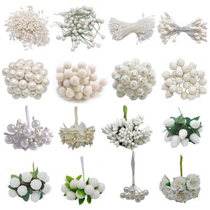 Mixed White Flower Cherry Stamen Berries Handmade Artificial Flower DIY Wreath For Cake Gift Box Decoration Crafts Fake