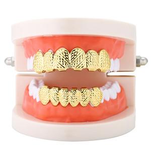 6 Principais dentes inferiores da cor do ouro prata dentes falsos do Hop Homens Hip Grillz Set Bump estrutura dental Grills Para as mulheres Body Jewelry