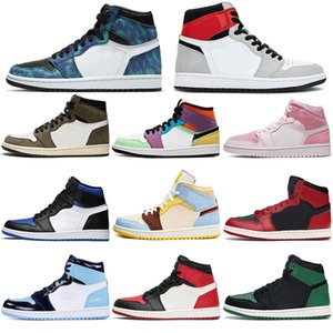 sapatos nike air jordan retro 1 OG Basquete Masculino Womens cetim Shattered Bred Banido New Love Royal Blue sombra sem medo Chicago UNC Esporte Formadores 1 1s
