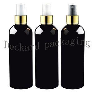 20pcs 300ml aerosol fino negro Botella de plástico de 10 onzas de oro collar con spray de maquillaje de contenedores, botellas de cosméticos de perfume vacía del paquete