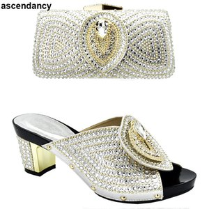 Italian Shoes with Matching Bags 2019 Shoe and Bag Set for Party In Women Nigerian Women Party Pumps with Purse Women High Heels Y200702