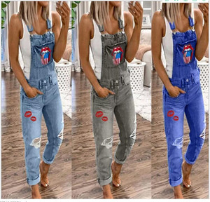 E-Baihui 2020 Cross-border Women's Overalls Casual Explosion Printed Washed Jeans Lady's Denim OverallsXS033