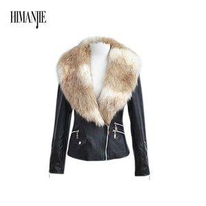 Heißen Verkauf Art und Stand-up Collar Typ Assembled Pelz Imitation Mantel-Pelz-Kragen-Art PU-Leder-Mantel für Herbst und Winter