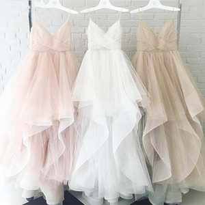 Romantic vestidos de novia 2019 A 라인 웨딩 드레스 스파게티 스트랩 Ruffles Bridal Dresses 커스텀 사이즈 컬러