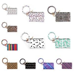 fashion Bracelet Keychain Leather Wrist Key Ring Handbag Leopard Bracelets Pendant Purse Lady Clutch Bag Hand Carry Bags Phone CaseT2I51011