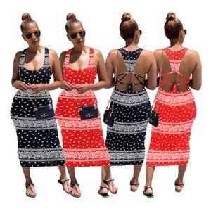 Summer bodycon dresses casual sleeveless backless dress sexy skinny minidress party evening club dress fashion bodycon print dress klw4385