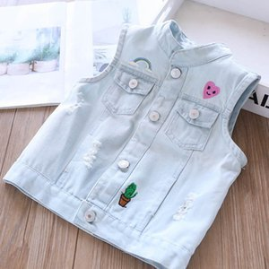 2020 new Summer LOVE denim girls waistcoat hole kids waistcoat girls Vest kids outwear kids designer clothes girls Tops B1030