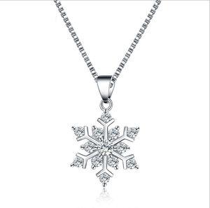 925 silberne Schneeflocken hängende Halskette mit den Kristallhalsketten-Luxuscharme-Halsketten-Art- und Weiseweihnachtsgeschenk Aussage-Schmuck