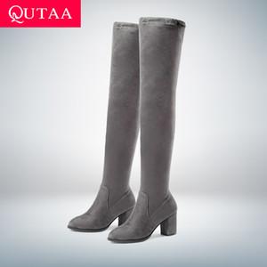 QUTAA 2020 donne sopra i Scarpe Donna stivali alti al ginocchio Piazza piattaforma dell'alto tallone Inverno Tutti termini Donne Sexy Boots Size 34-43 T200520