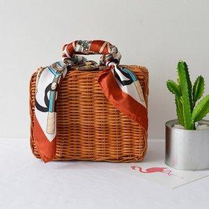 Moda Verano Señora Bolsos de mujer Bufandas Caja Bolsas de maletero Tejido de paja Equipaje Almuerzo Bolsas de playa Retro Estilo fresco BA214