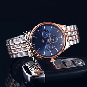 New Master Control Q149344 Daydate Moon Phase Automatic Mens Watch Two Tone Rose Gold Blue Dial Stainless Steel Bracelet Hi_Watch E131g7