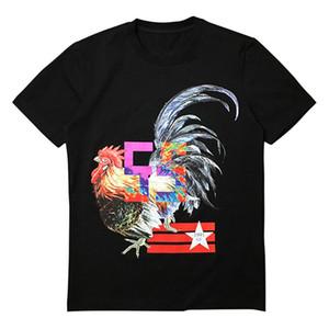 남성 스타일리스트 T 셔츠 남성 여성 수탉 인쇄 짧은 소매 패션 남성 스타일리스트 캐주얼 라운드 넥 티셔츠