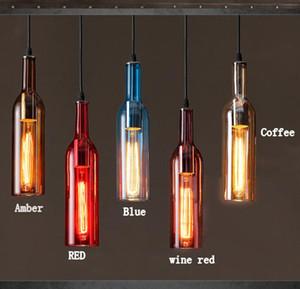 2020 Botella lámpara LED de la vendimia de la lámpara E27 botella de vino rojo luz pendiente de cristal del café del restaurante Bar Hotel Vino lámparas colgantes