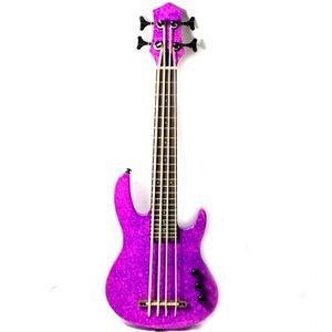 MiNi mor renk ile elektrik bas ukulele 4string