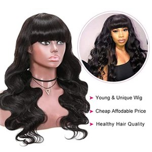 Nadula Malaysian Body Wave Wig with Bangs Virgin Human Hair Capless Wigs with Full Bangs 150% Density Glueless Machine Made Wigs 22INCH