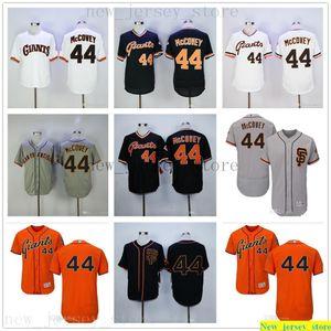 Özel Erkek Kadın Gençlik Majestic Beyzbol Formalar Dikişli 44 Willie McCovey Jersey Çocuk Ev Siyah Turuncu Beyzbol Jersey
