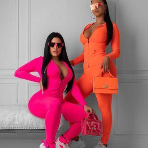 2020 Autumn jogging 2 pieces set women fitness sportswear long sleeve zipper tops elastic leggings slim gym set woman tracksuit