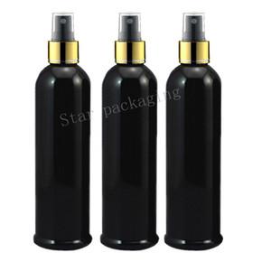 20pcs / lot 250ml Perfume plástica cosmética oro collar con spray Botella Negro maquillaje recargable Mujeres Agua pulverizador Contenedores negro
