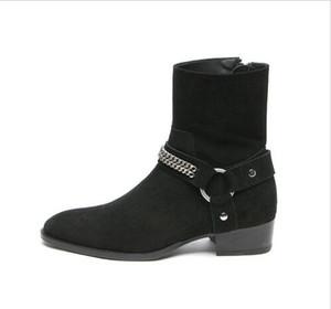 Heißer Verkauf- Wyatt Harness Boots aus schwarzem Leder Herren Personalisierte Männer Martin Stiefel Cowboystiefel Hoch-Spitze Schuhe spitz Stylistin Laufsteg