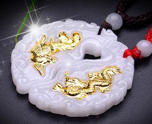 Pendentif de jade Collier en or avec le dragon de jade et deux phénix or incrusté 999 bijoux prix unique paire Envoyer certificat meilleur cadeau cadeau