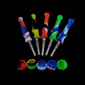 14mm Silikon Nectar Collector Mini NC Kit Silicon Rauchen Wasserpfeife mit Edelstahl-Spitze-Behälter für das Wachsöl